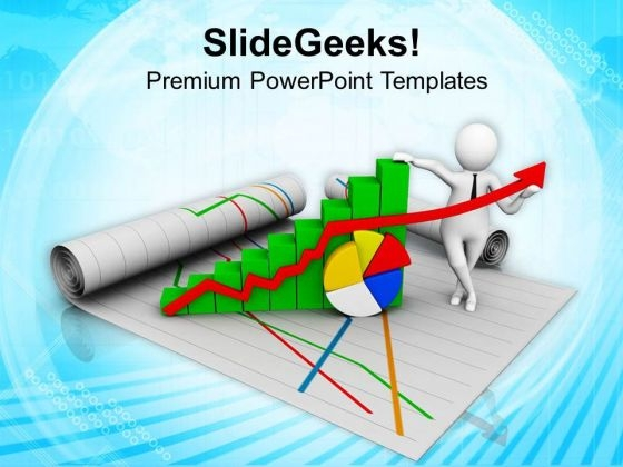 Man Holding Bar Graph And Pie Chart PowerPoint Templates Ppt Backgrounds For Slides 0813