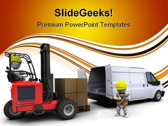 Man In Forklift Truck Industrial PowerPoint Templates And PowerPoint Backgrounds 0311