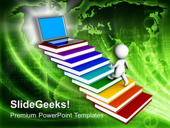 Man On Books Reaching Laptop PowerPoint Templates Ppt Backgrounds For Slides 0213