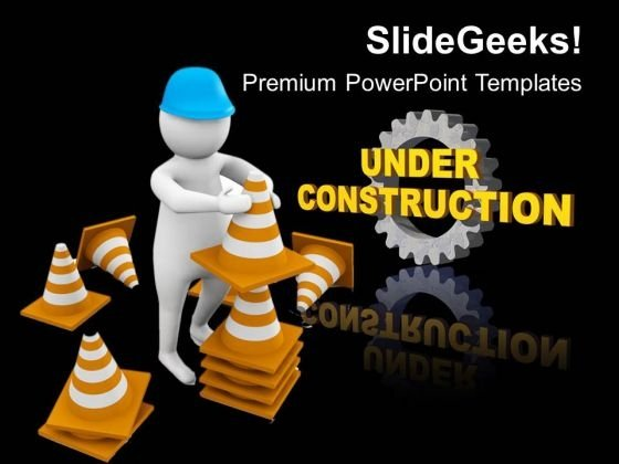 Man On Construction Site PowerPoint Templates Ppt Backgrounds For Slides 0813