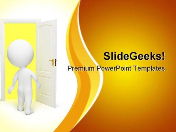 Man Opens Door Metaphor PowerPoint Templates And PowerPoint Backgrounds 0611