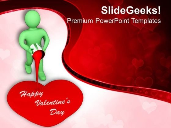 Man Painting Valentines Heart PowerPoint Templates Ppt Backgrounds For Slides 0213