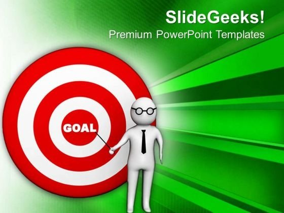 Man Pointing Goal Illustration PowerPoint Templates Ppt Backgrounds For Slides 0713