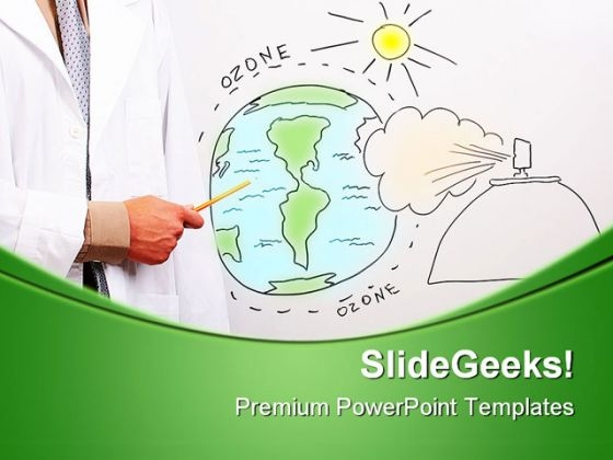 Man Pointing To Globe Science PowerPoint Themes And PowerPoint Slides 0511