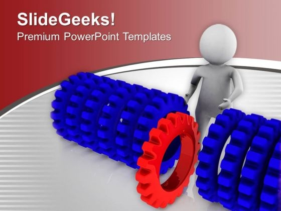 Man Pushing Different Red Gear PowerPoint Templates Ppt Backgrounds For Slides 0713