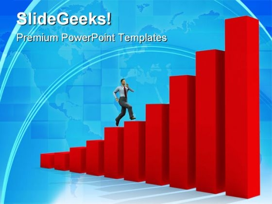 Man Run Up On Graph Business PowerPoint Themes And PowerPoint Slides 0511