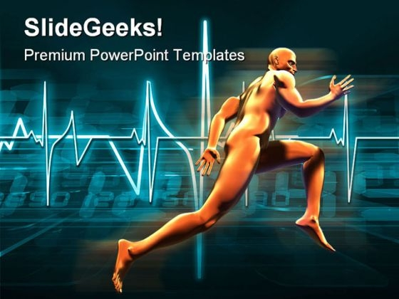 Man Running With Fast Heartbeat Health PowerPoint Templates And PowerPoint Backgrounds 0411