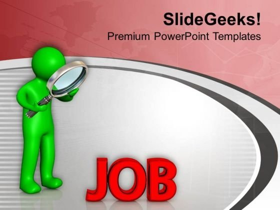 Man Searching For Job PowerPoint Templates Ppt Backgrounds For Slides 0713