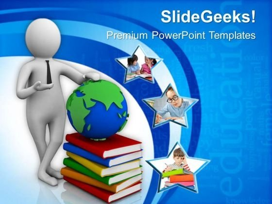 Man Shows Global Studies Education Concept PowerPoint Templates Ppt Backgrounds For Slides 0813