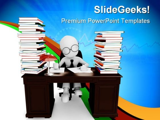 Man Sitting Desk Education PowerPoint Themes And PowerPoint Slides 0311