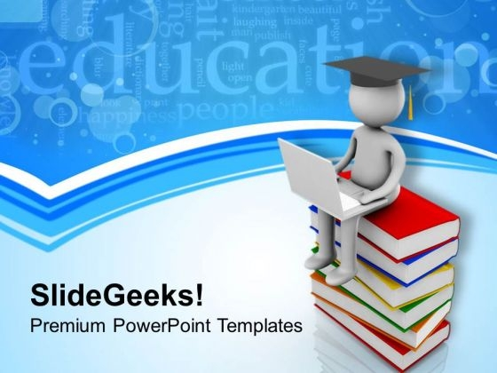 Man Sitting On Books With Laptop PowerPoint Templates Ppt Backgrounds For Slides 0813