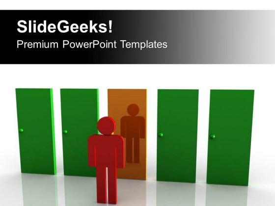 Man Standing In Front Of Door PowerPoint Templates Ppt Backgrounds For Slides 0313