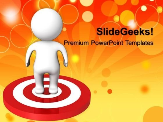 Man Standing On Target Business PowerPoint Templates And PowerPoint Themes 0612