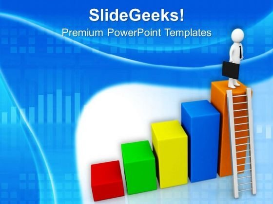 Man Standing On Top Bar PowerPoint Templates Ppt Backgrounds For Slides 0713