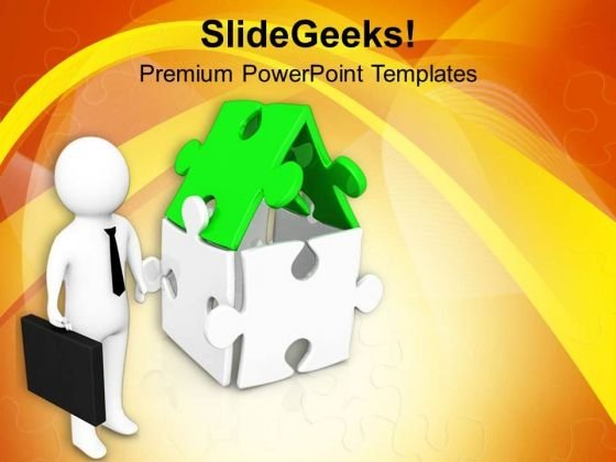 Man Standing With House PowerPoint Templates Ppt Backgrounds For Slides 0713