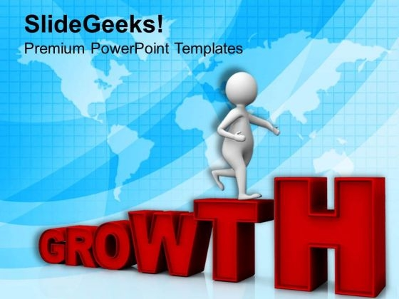 Man Stepping Towards Business Growth PowerPoint Templates Ppt Backgrounds For Slides 0813