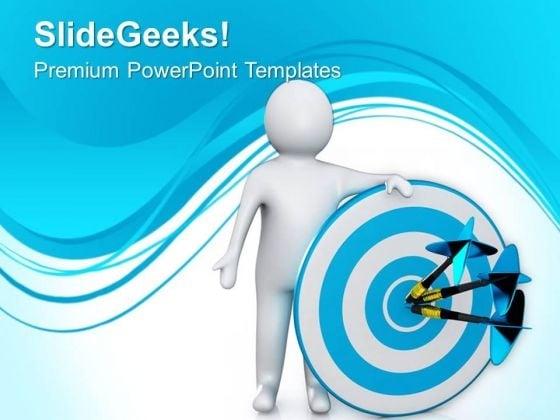 Man Target Center Success PowerPoint Templates Ppt Backgrounds For Slides 0713