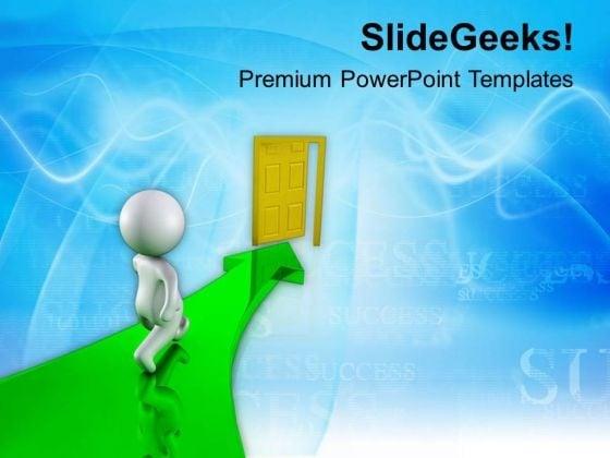 Man Walking Through Open Door PowerPoint Templates Ppt Backgrounds For Slides 0713