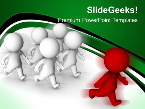 Man Winning Race Leadership PowerPoint Templates And PowerPoint Themes 0612