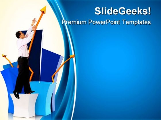 Man With A Graph Business PowerPoint Themes And PowerPoint Slides 0611