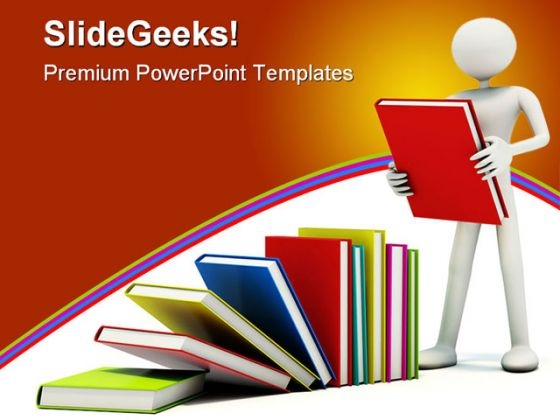 Man With Books Education PowerPoint Backgrounds And Templates 1210