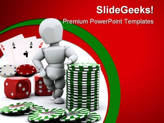 Man With Casino Dices Lifestyle PowerPoint Themes And PowerPoint Slides 0411