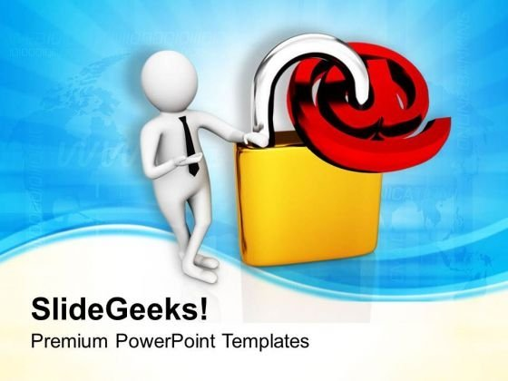 Man With Email Sign And Padlock PowerPoint Templates Ppt Backgrounds For Slides 0713