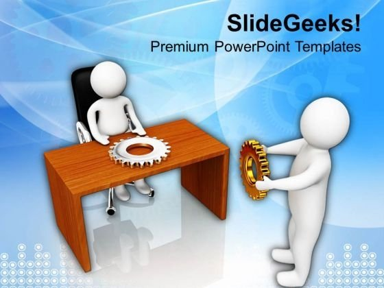 Man With Gear In Front Of Manager PowerPoint Templates Ppt Backgrounds For Slides 0813