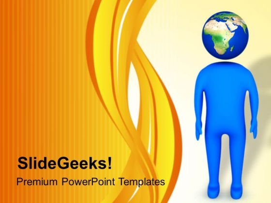 Man With Globe Head PowerPoint Templates Ppt Backgrounds For Slides 0713