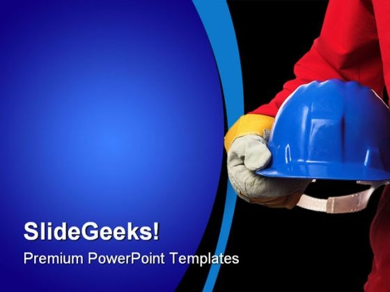 Man With Helmet Construction PowerPoint Themes And PowerPoint Slides 0411