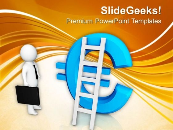 Man With Ladder And Euro Symbol PowerPoint Templates Ppt Backgrounds For Slides 0713