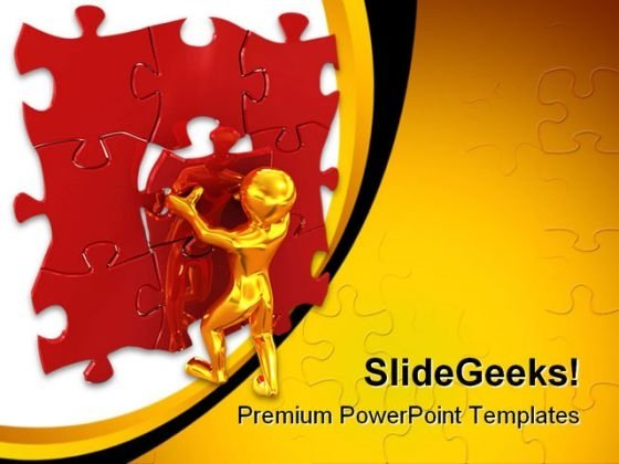 Man With Last Puzzle Business PowerPoint Templates And PowerPoint Backgrounds 0311