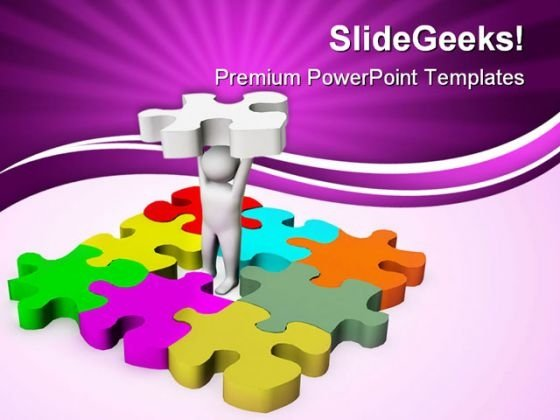 Man With Last Puzzle Business PowerPoint Themes And PowerPoint Slides 0411