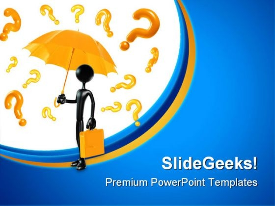 Man With Questions Business PowerPoint Themes And PowerPoint Slides 0811