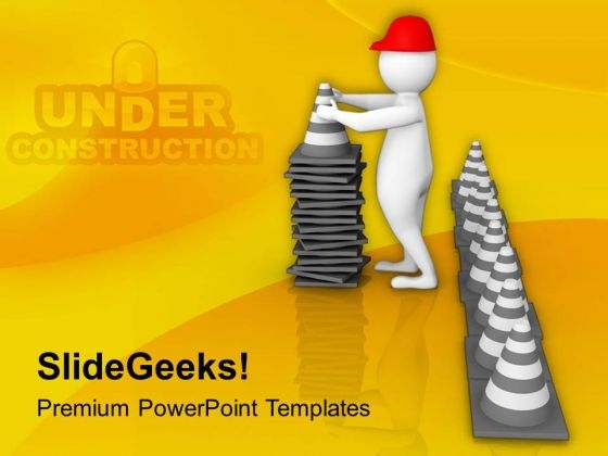 Man With Traffic Cones PowerPoint Templates Ppt Backgrounds For Slides 0813