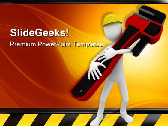 Man Worker With Wrench Construction PowerPoint Templates And PowerPoint Backgrounds 0311