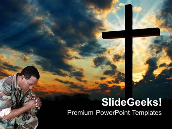 Marine Praying Cross Religion PowerPoint Templates And PowerPoint Themes 0812