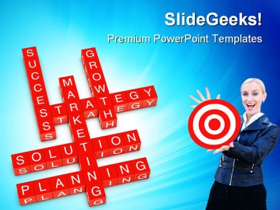 Marketing Crossword Success PowerPoint Themes And PowerPoint Slides 0411