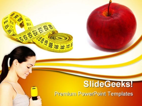 Measuring Tape With Red Apple Health PowerPoint Themes And PowerPoint Slides 0311