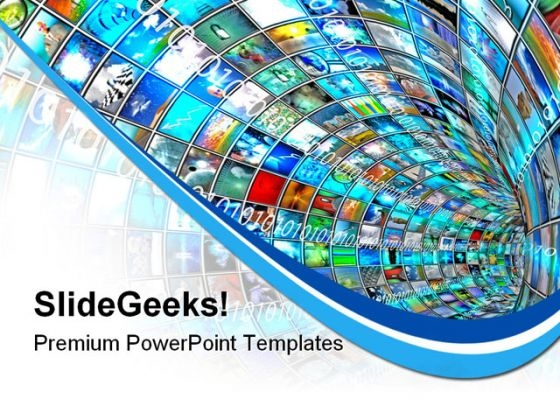 Media Tunnel With Binary Technology PowerPoint Templates And PowerPoint Backgrounds 0711
