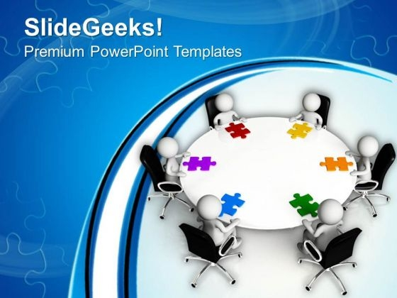Men Around Table With Jigsaw Puzzle Pieces PowerPoint Templates Ppt Backgrounds For Slides 0613