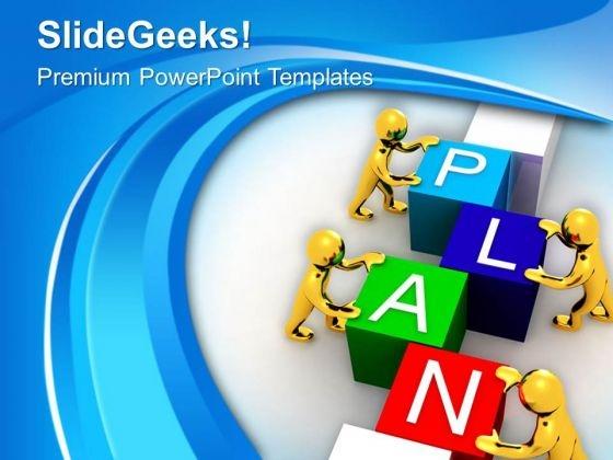 Men Assembling Puzzle Plan PowerPoint Templates Ppt Backgrounds For Slides 0713