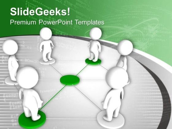 Men Collaborate In Business Network PowerPoint Templates Ppt Backgrounds For Slides 0313