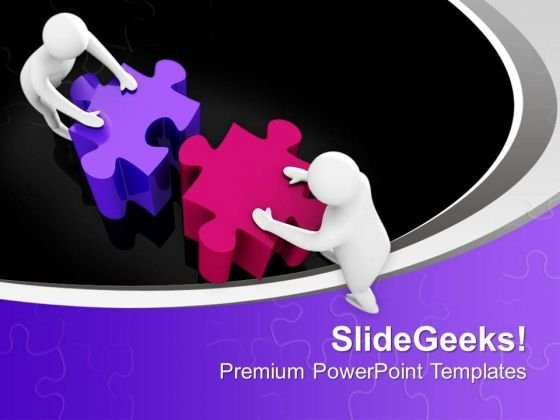 Men Pushing Colorful Puzzles Effort PowerPoint Templates Ppt Backgrounds For Slides 0313