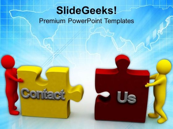 Men Pushing Puzzles Contact Us PowerPoint Templates Ppt Backgrounds For Slides 0713