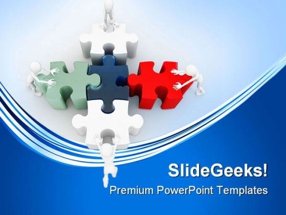 Men With Puzzle Team Business PowerPoint Templates And PowerPoint Backgrounds 0311