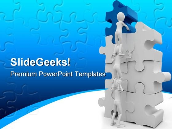 Men With Puzzle Teamwork PowerPoint Backgrounds And Templates 0111