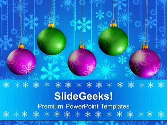 Merry Christmas Balls Design PowerPoint Templates Ppt Backgrounds For Slides 1212