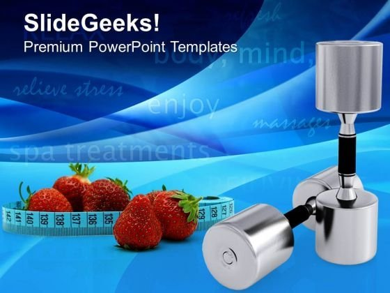 Metallic Dumbbells Equipment With Strawberries PowerPoint Templates Ppt Backgrounds For Slides 0213