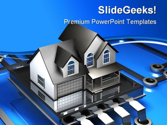 Microchip And House Realestate PowerPoint Themes And PowerPoint Slides 0311